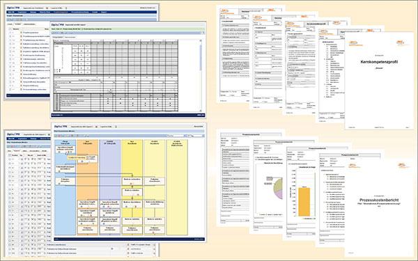 Umfangreiche Inhalte zur Effizienz im Krankenhaus wie Projektmanagement, Prozessreferenzmodell, Prozesskostenrechnung